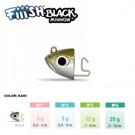 FIIISH BLACK MINNOW RICAMBI JIG HEAD SHORE
